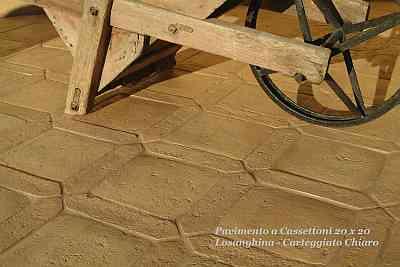 pavimento a cassettoni  carteggiato a mano dalla fornace di Castel Viscardo Enrico Palmucci